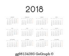 2018 clipart simple. Vector stock european calendar