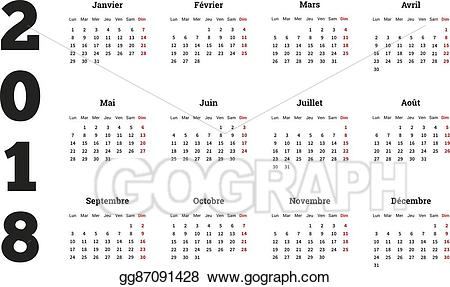 2018 clipart simple. Vector art calendar on