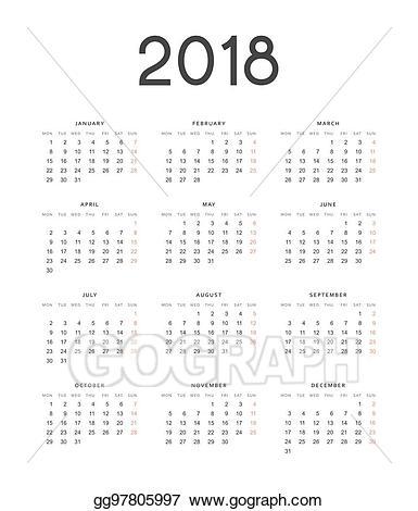 Vector stock european calendar. 2018 clipart simple