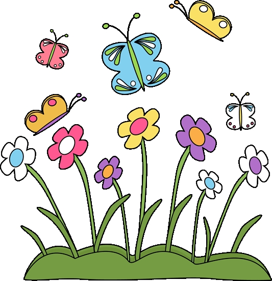 2018 clipart spring. Springtime flowers and butterflies
