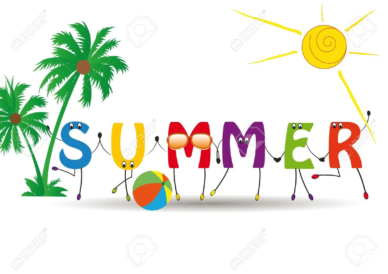 Celebrate clipart summer. Word with colorful and
