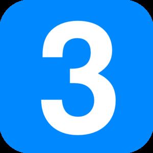 3 clipart. Blue number clip art