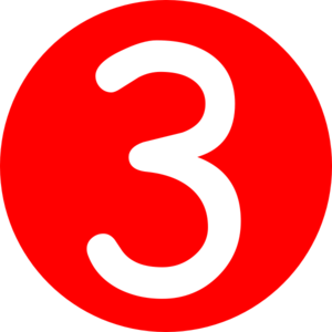Red rounded with number. 3 clipart