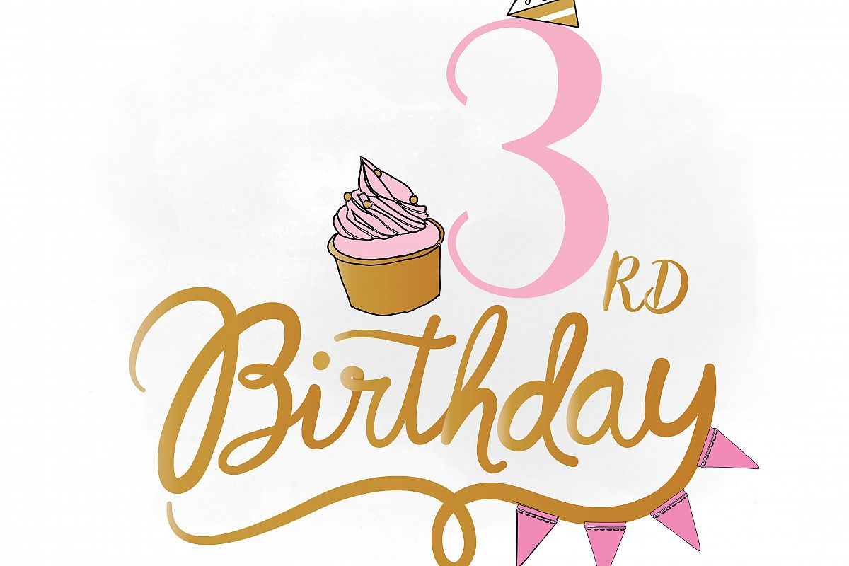 3 clipart 3rd.  rd birthday svg