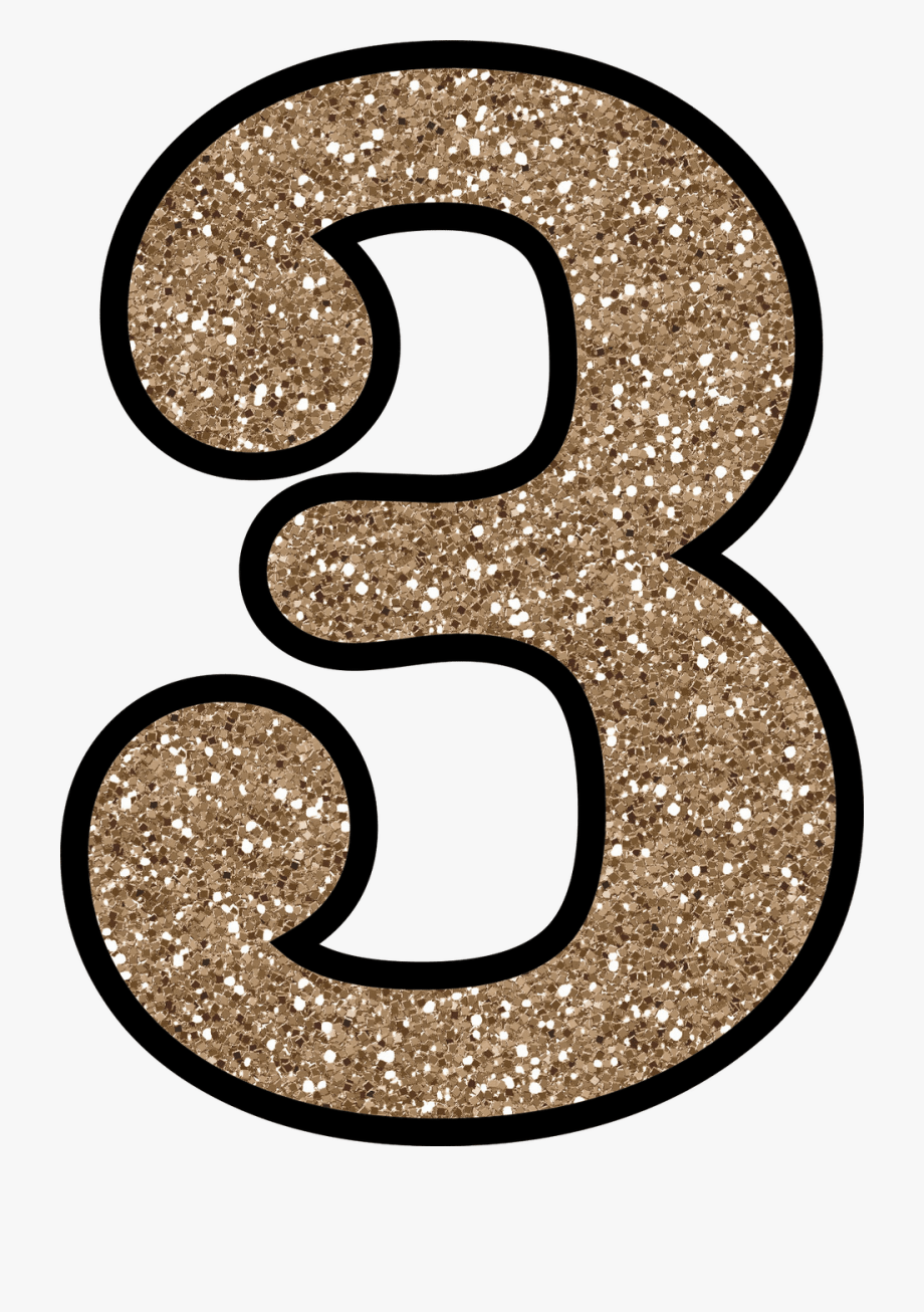Glitter number gold . 3 clipart