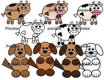 Farm animals from shapes. 3 clipart animal