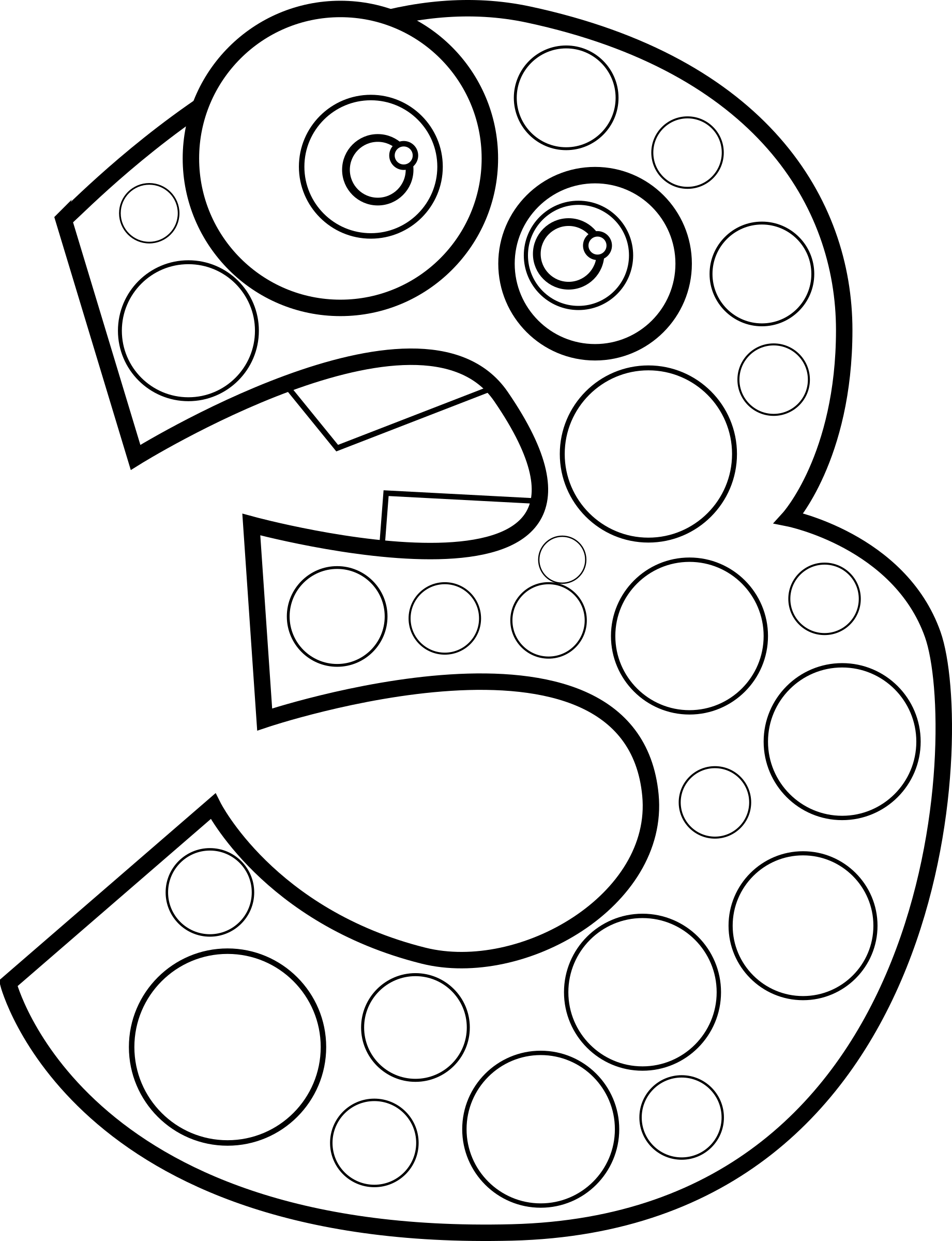 Number three lineart big. 3 clipart animal