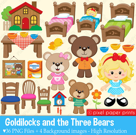 3 clipart bears. Goldilocks the three and