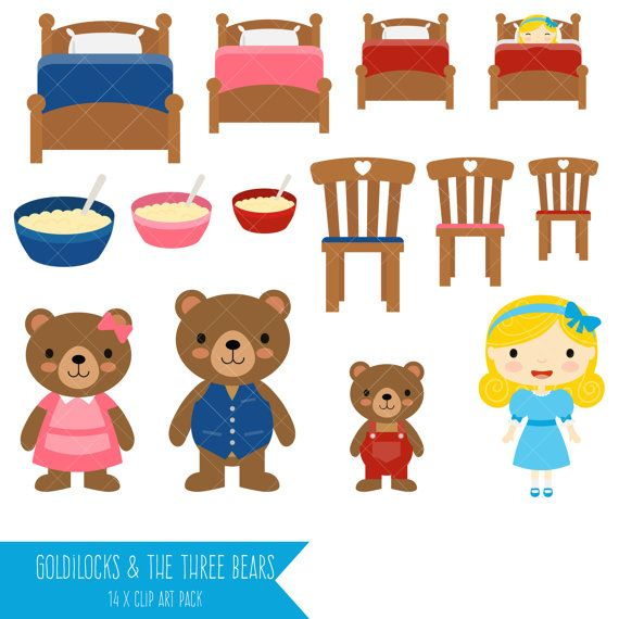 3 clipart bears. Goldilocks and the three