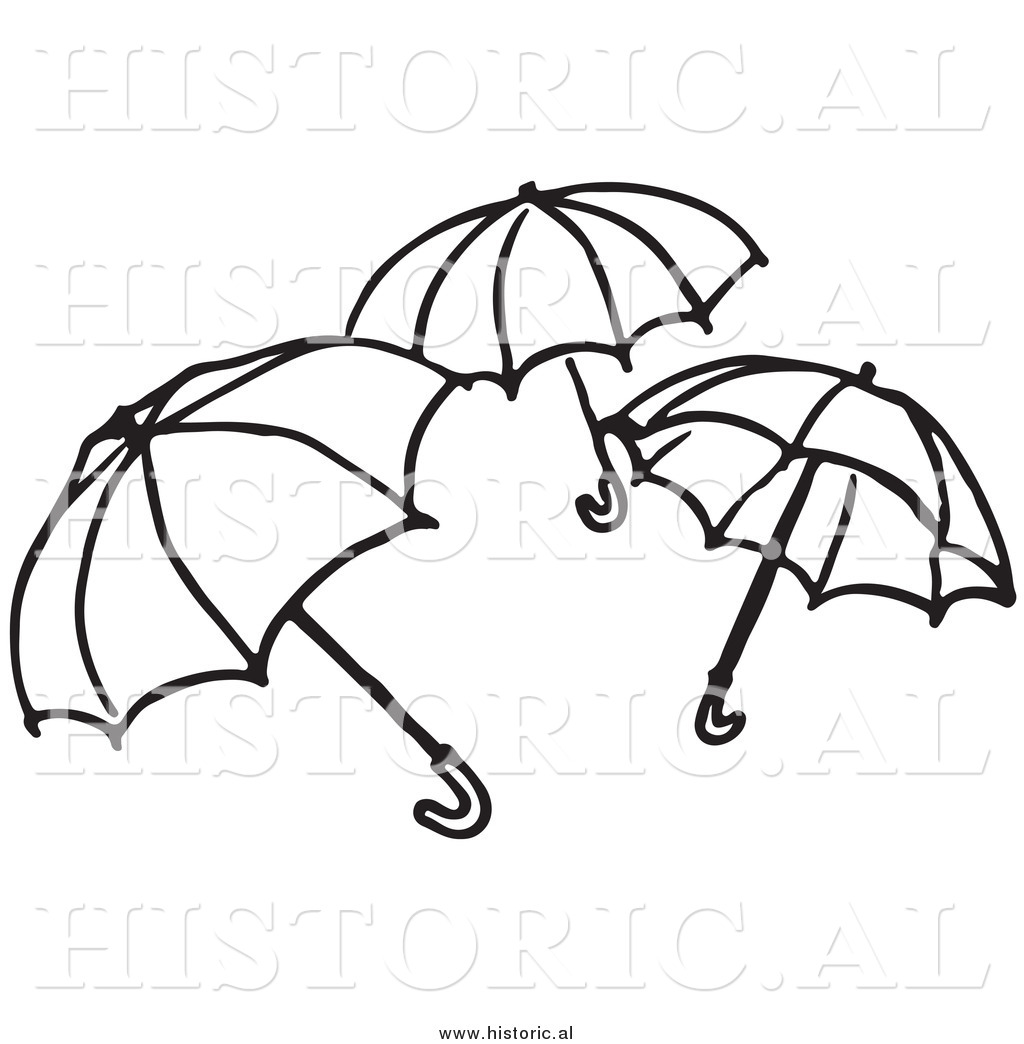 Of three opened umbrellas. 3 clipart black and white