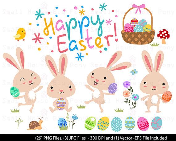 3 clipart bunny. Cute digital easter baby