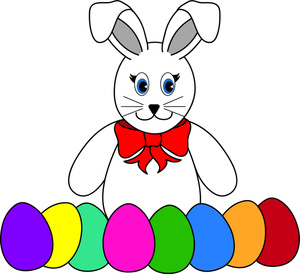 3 clipart bunny. Easter with eggs station