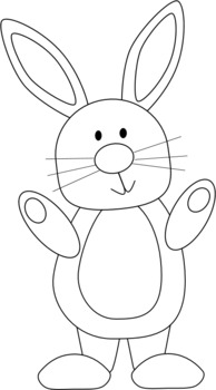 Free black and white. April clipart bunny
