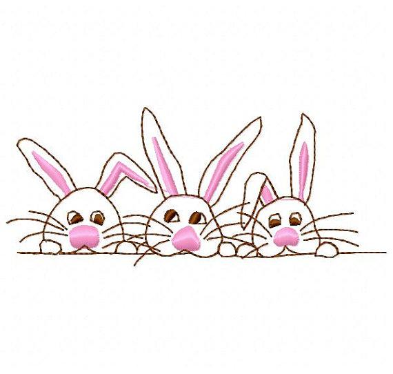 3 clipart bunny.  bunnies outline embroidery