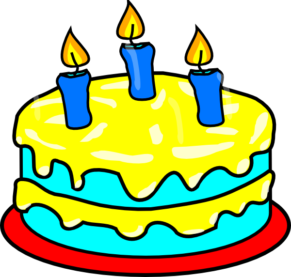 Yellow three candle clip. 3 clipart cake