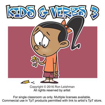 3 clipart cartoon. Kids verbs vol by