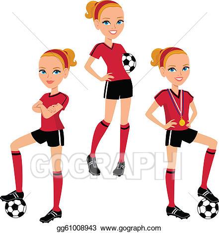 3 clipart cartoon. Eps illustration soccer girl