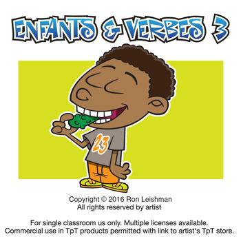 3 clipart cartoon. Enfants verbes vol by