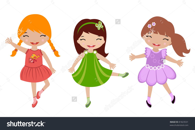 3 clipart cute. Little girl girls