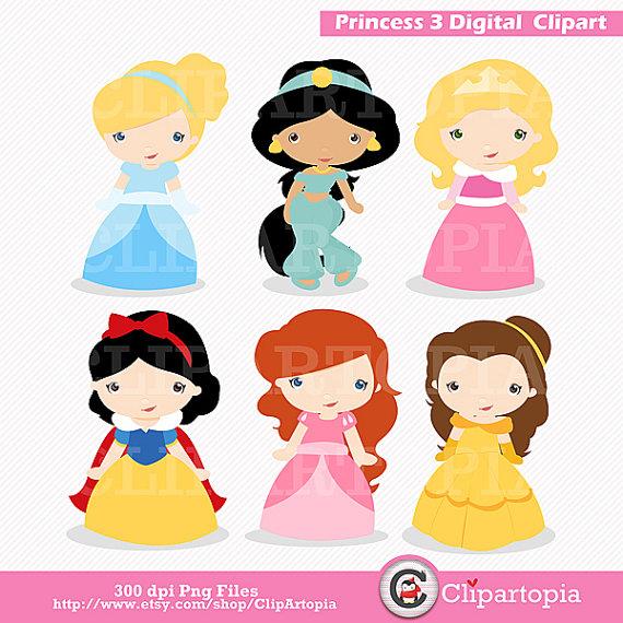 3 clipart cute. Princess digital clip art