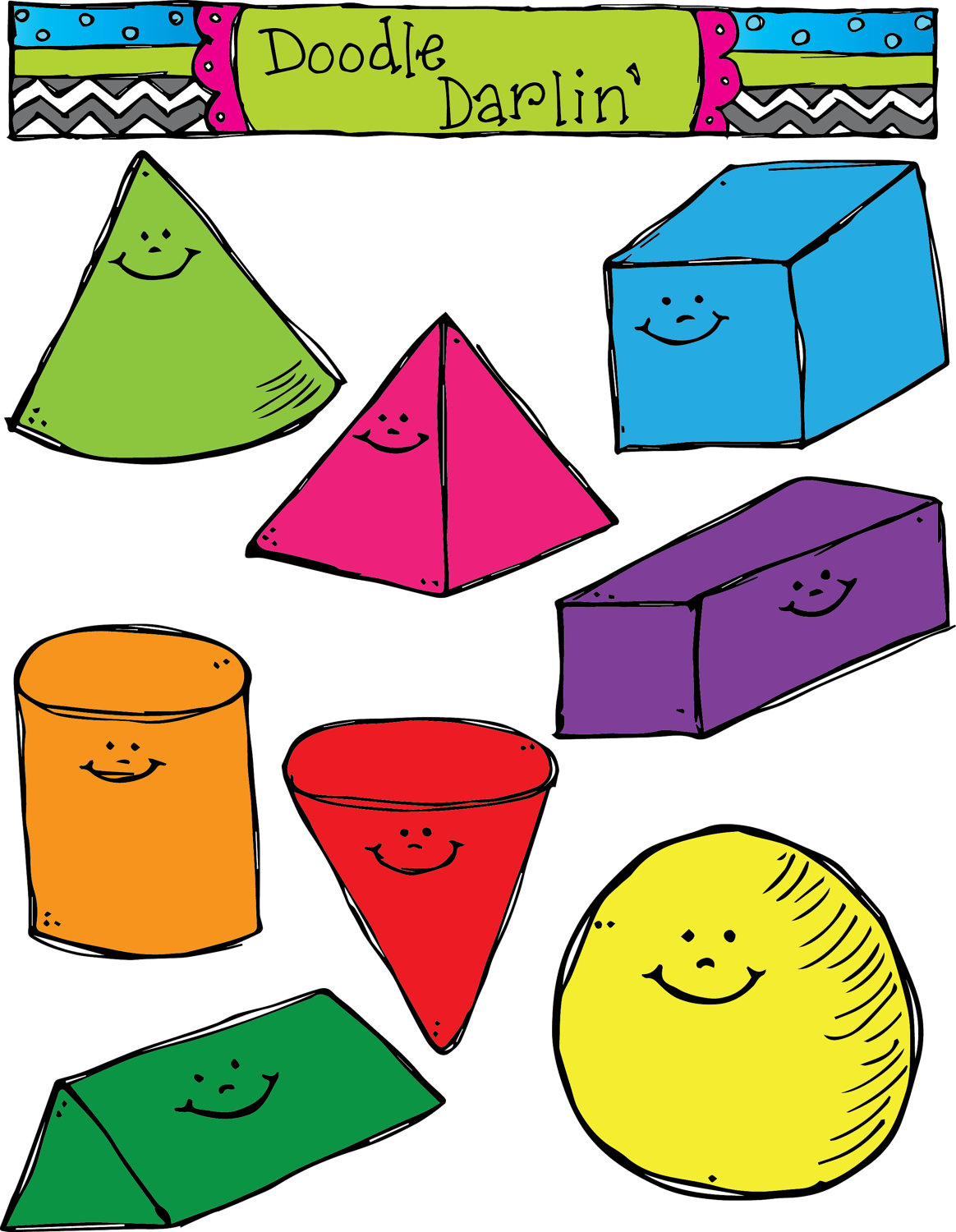 Three clipground solid shapes. 3 clipart dimensional