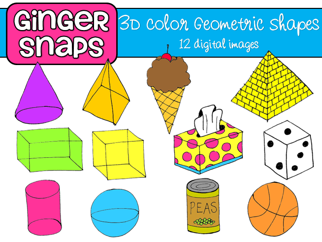 3 clipart dimensional. Three d shapes