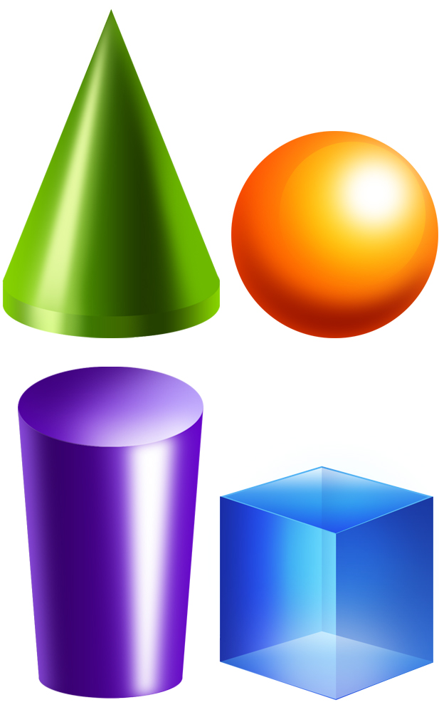 Solid shapes clipground clip. 3 clipart dimensional