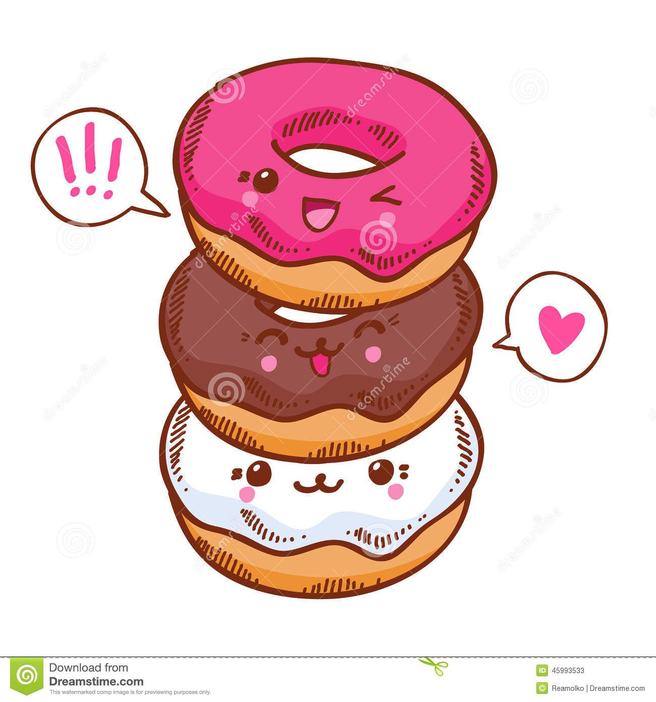 3 clipart donut. Group of three cute