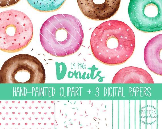 Watercolor donuts clip art. 3 clipart donut