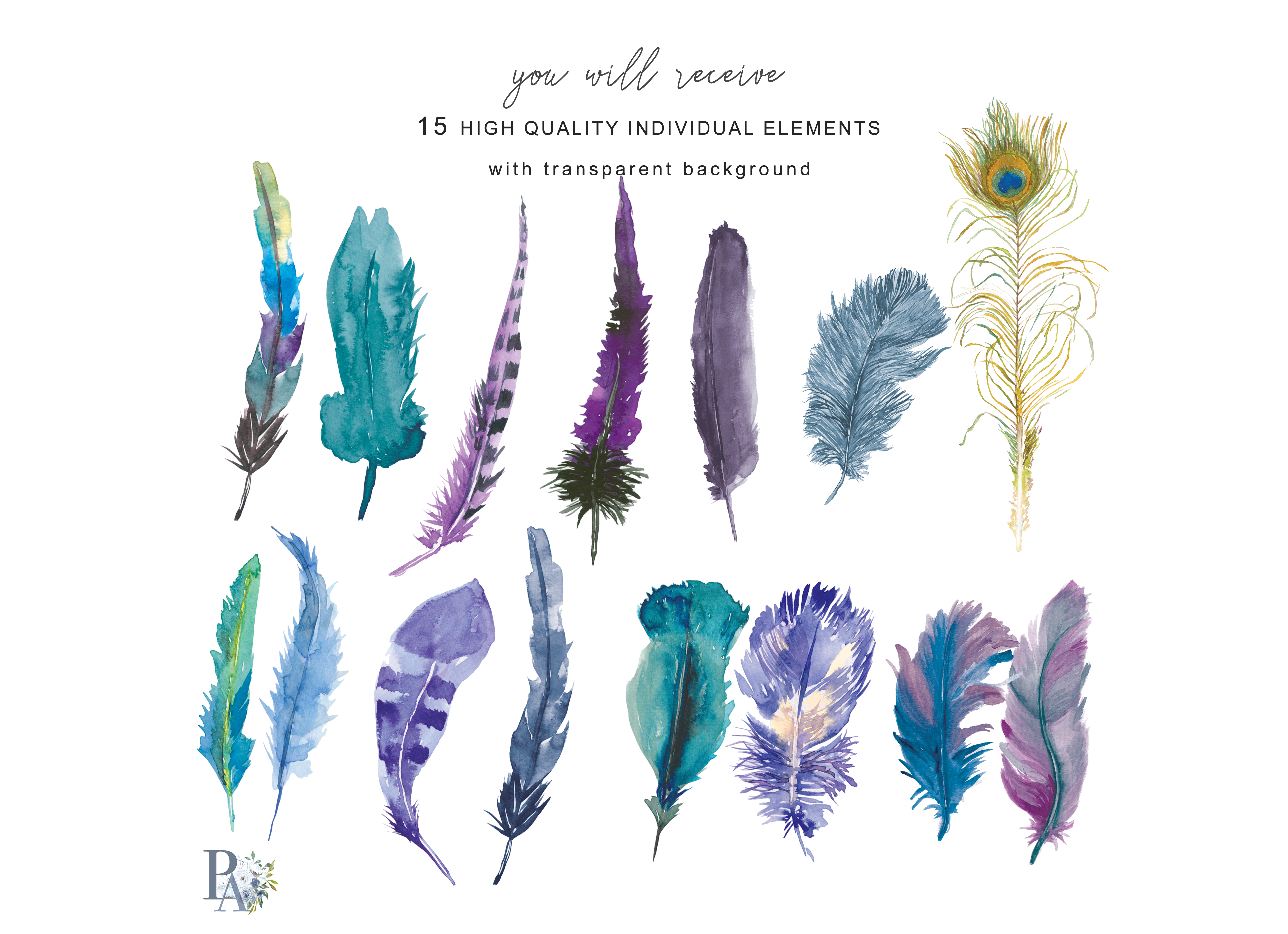Watercolor purple blue green. 3 clipart feather