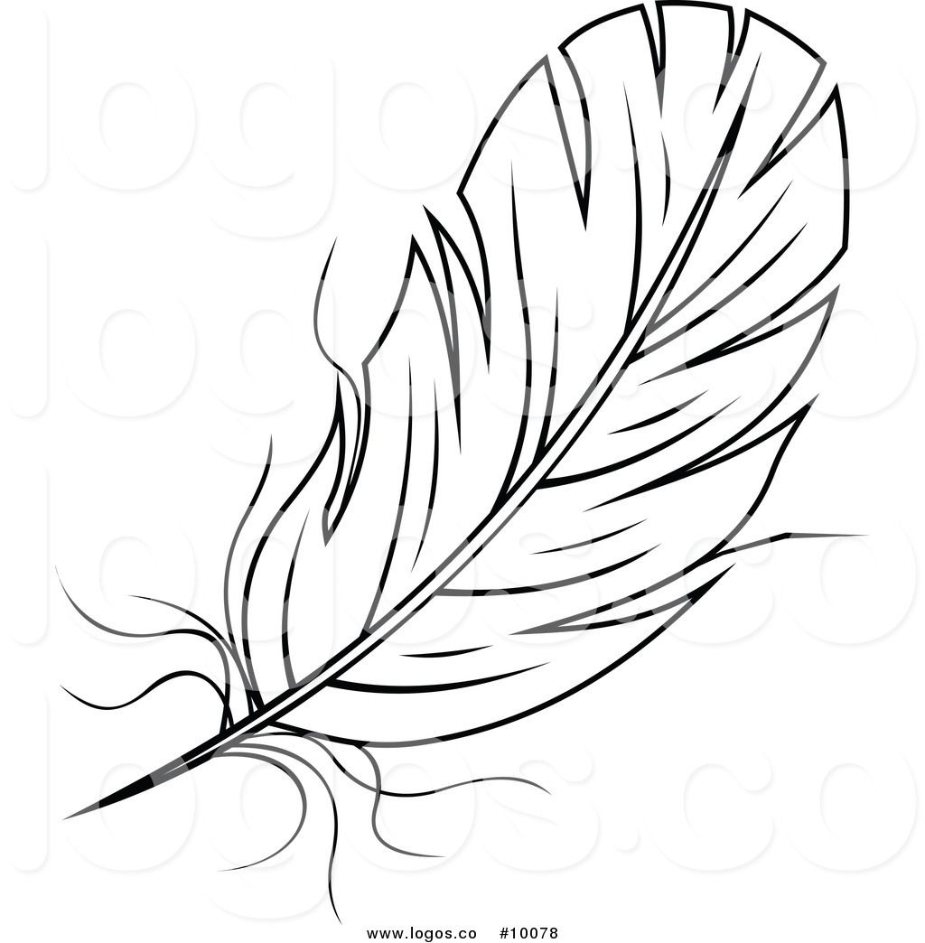Black and white station. Feather clipart logo