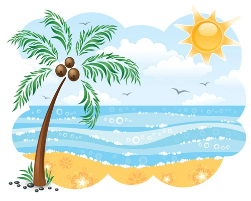 3 clipart holiday. Beach station