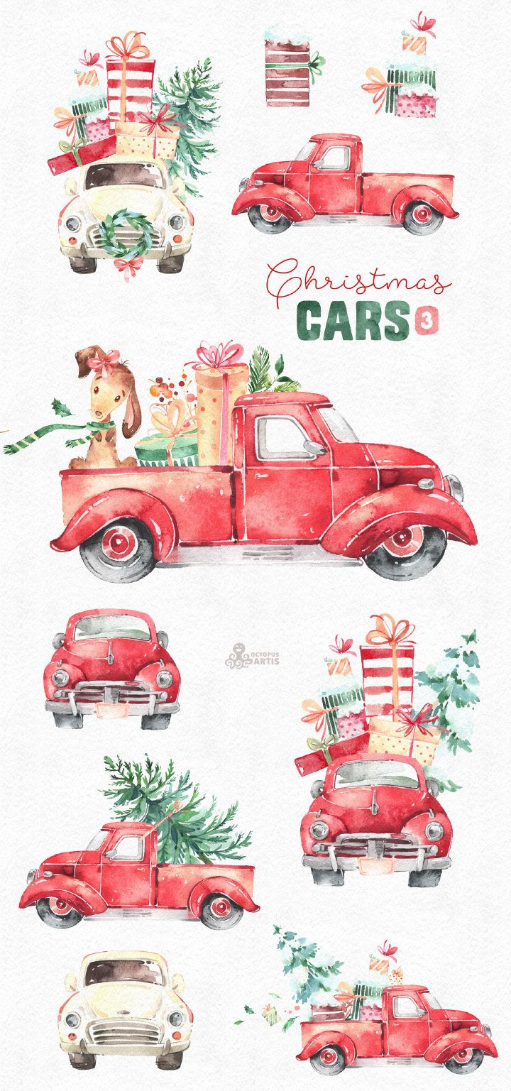 Christmas cars watercolor vintage. 3 clipart holiday