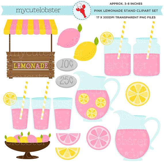 3 clipart item. Pink lemonade stand set