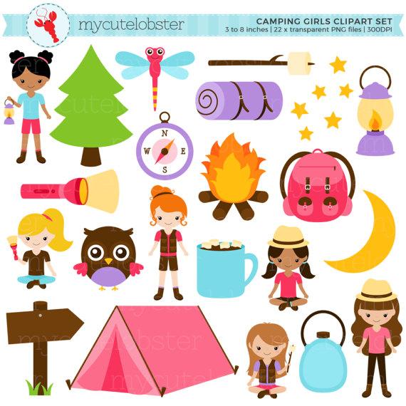 Torch clipart camping. Girls set clip art