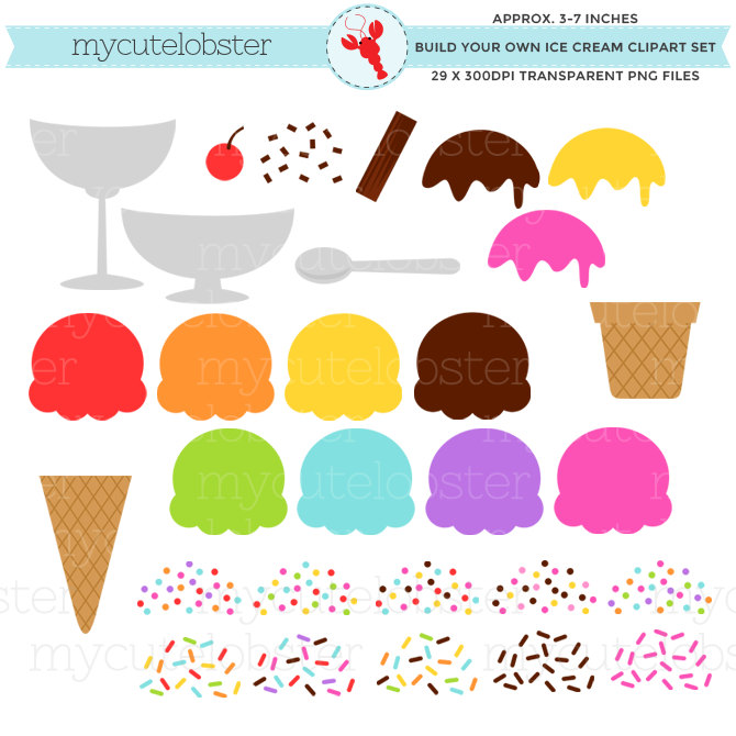 3 clipart item. Ice cream set build