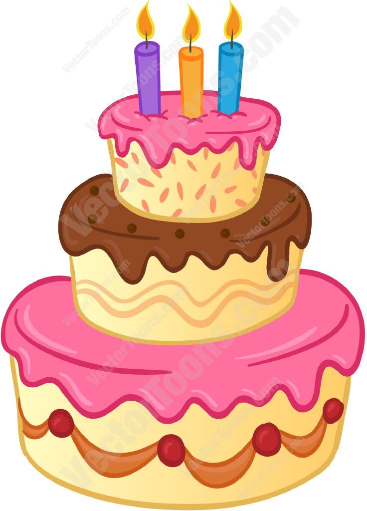 Three tiered birthday with. 3 clipart layer cake