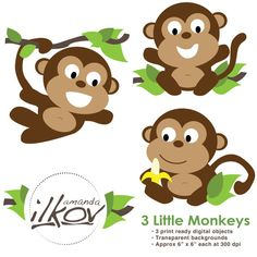 Monkeys clipart. Cute vintage jungle animal