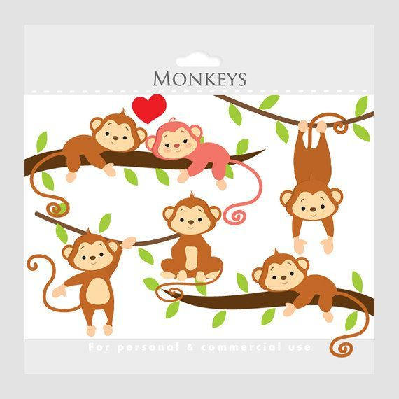 Whimsical monkeys clip art. 3 clipart monkey