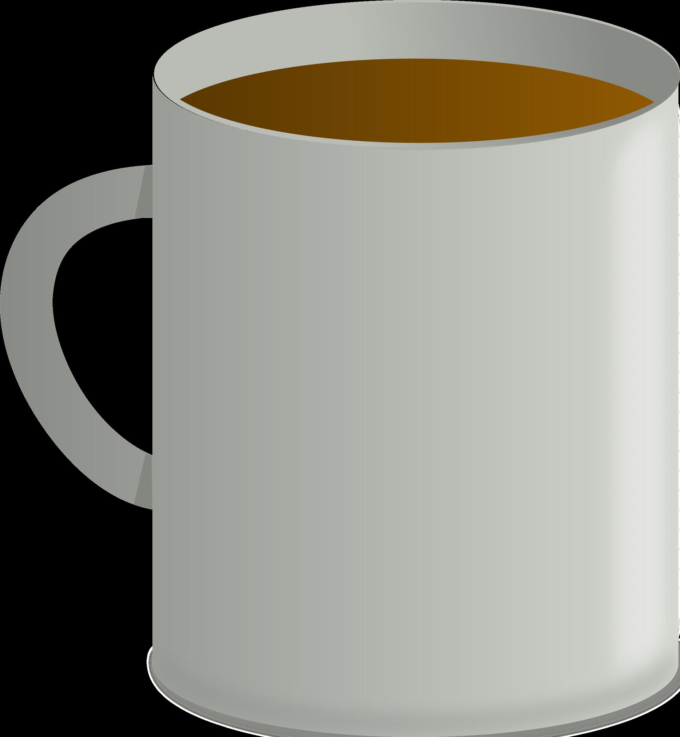 Mug coffee big image. Glass clipart brown