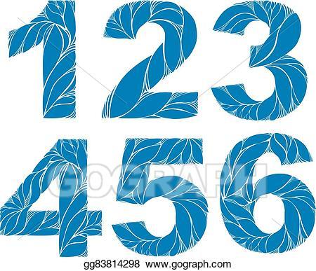 3 clipart number 4. Vector illustration blue elegant