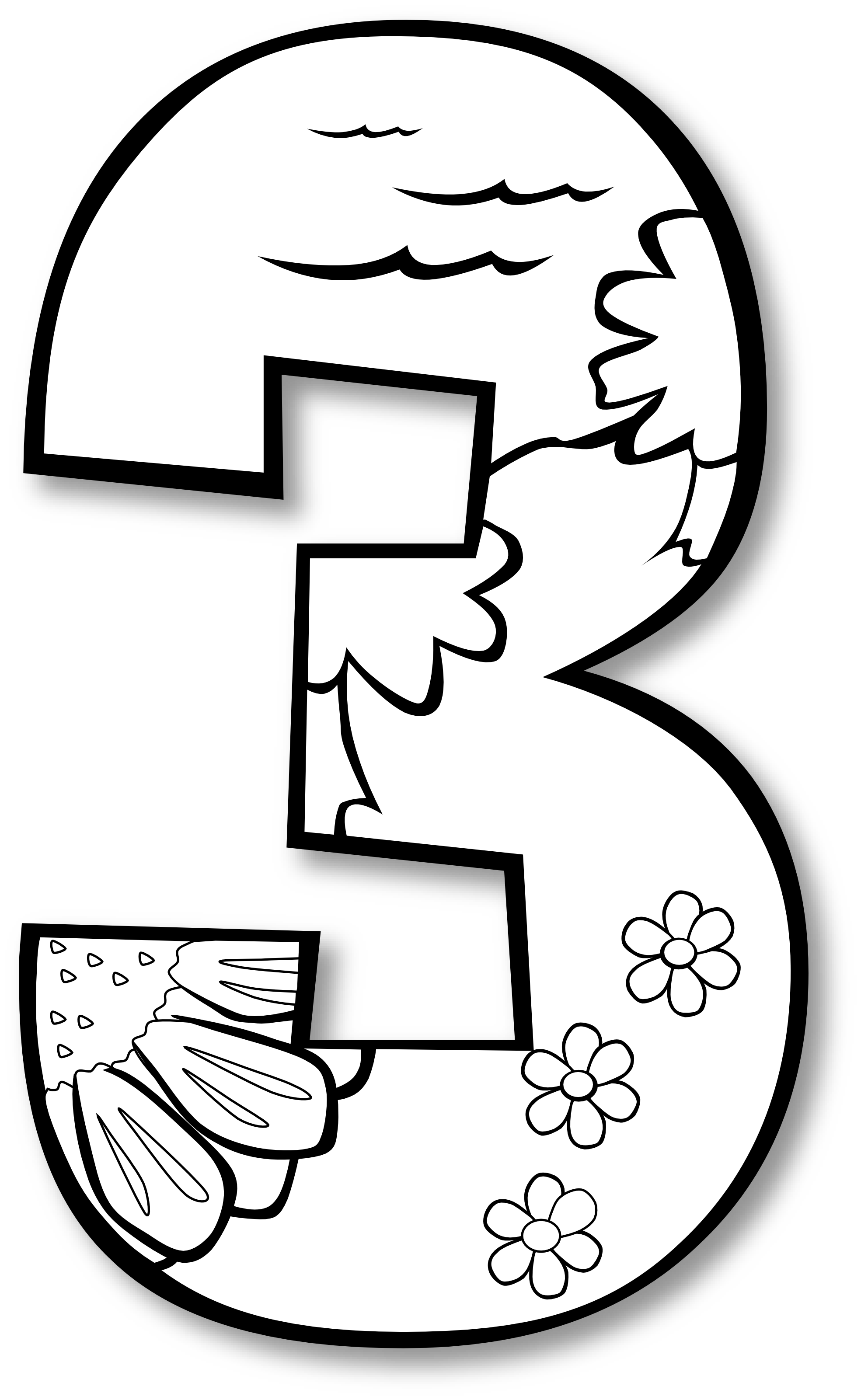 3 clipart number one. Art ge black white