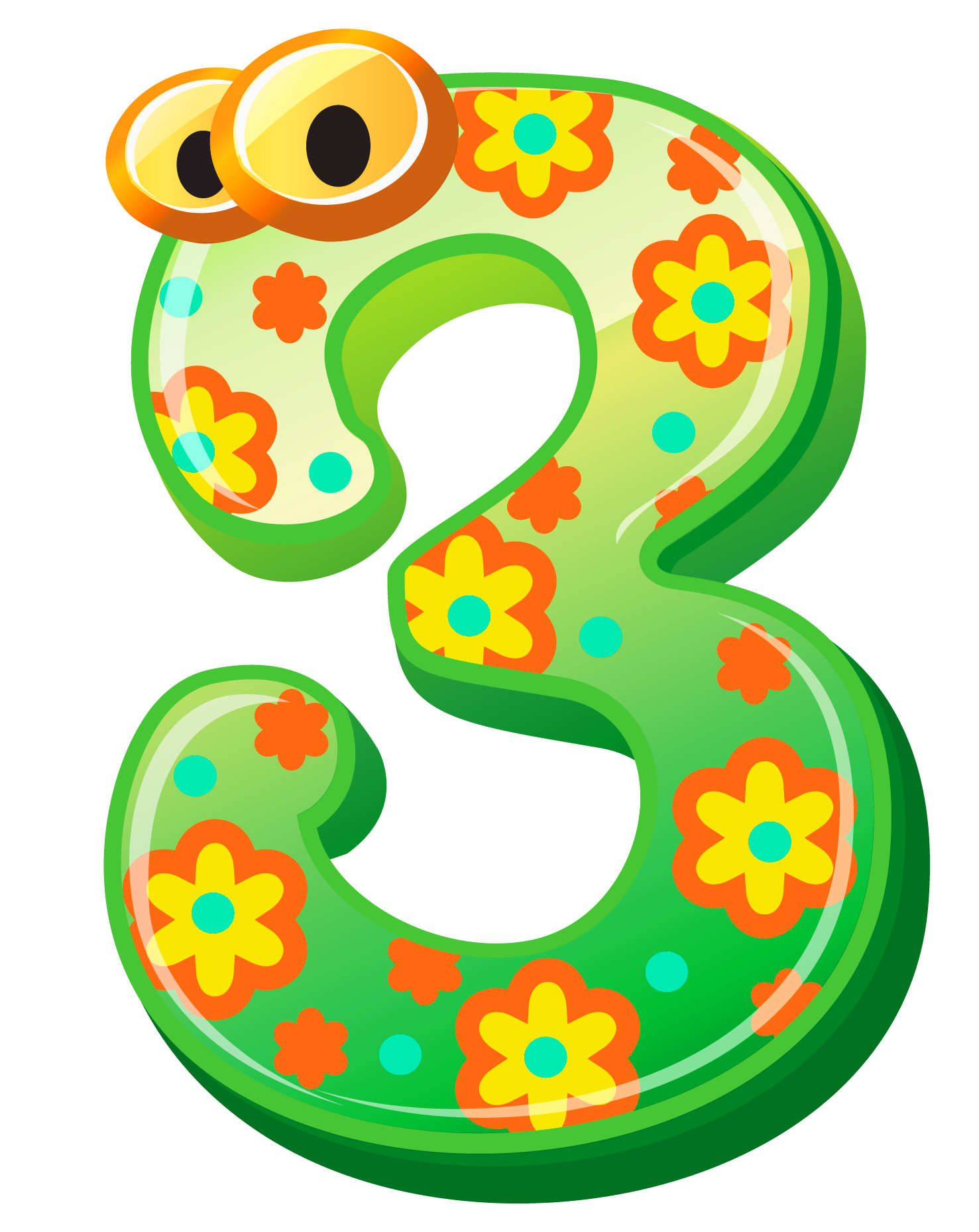 Numbers clipart learning. Cute number three png