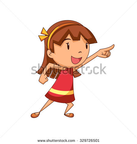 Girl pointing an station. 3 clipart object