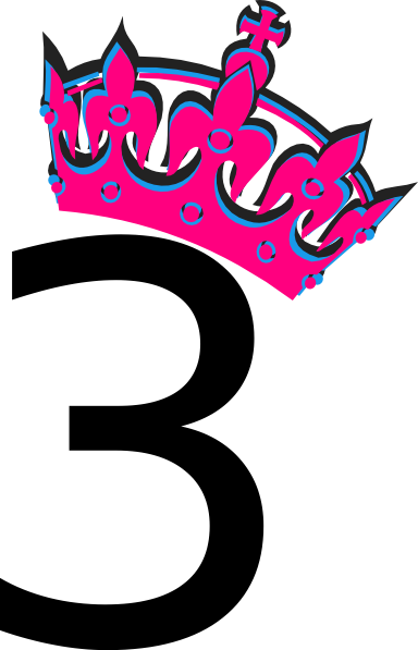 Tilted tiara and clip. 3 clipart pink number 3