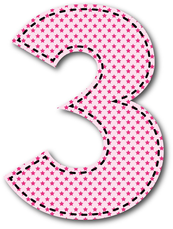 3 clipart pink number 3.  best n meros
