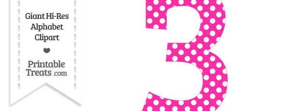 3 clipart pink number 3. Hot polka dot printable