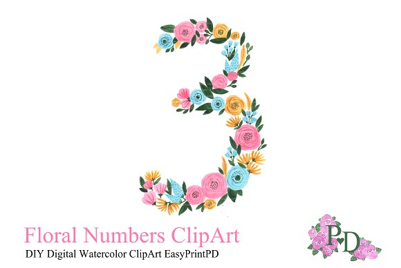 Hand painted floral illustrations. 3 clipart pink number 3