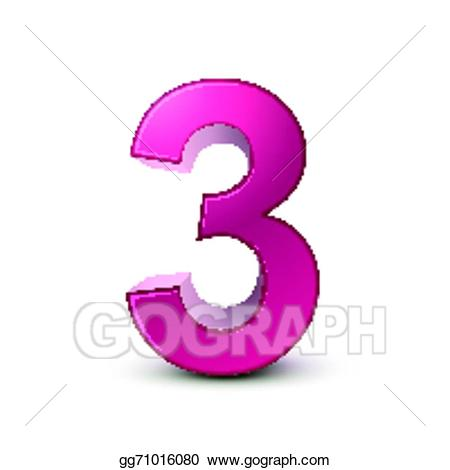 Vector stock d shiny. 3 clipart pink number 3