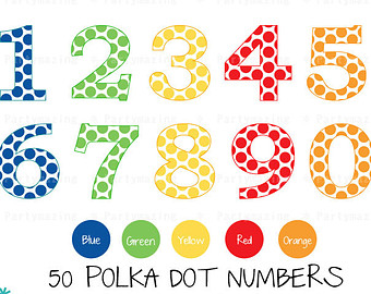 Numbers etsy number set. 3 clipart polka dot